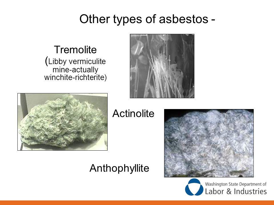 Other types of asbestos - Tremolite ( Libby vermiculite mine-actually winchite-richterite) Actinolite Anthophyllite