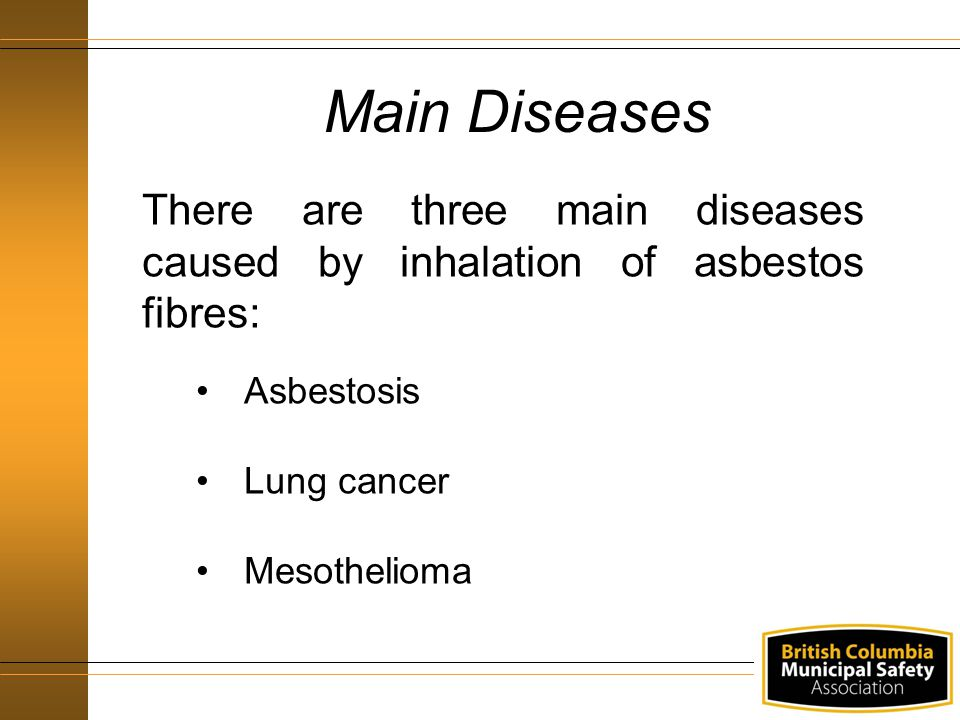 Main Diseases There are three main diseases caused by inhalation of asbestos fibres: Asbestosis Lung cancer Mesothelioma