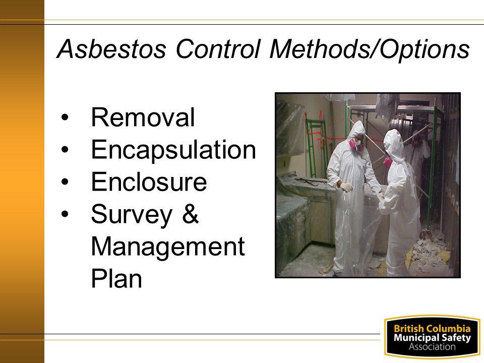 Asbestos Control Methods/Options Removal Encapsulation Enclosure Survey & Management Plan