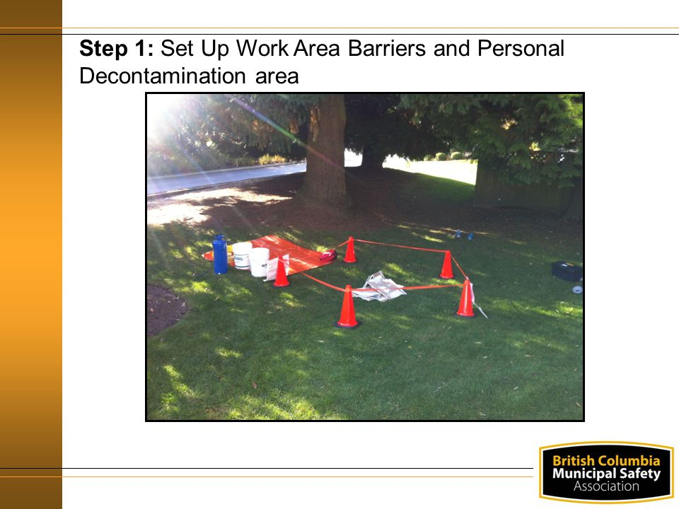 Step 1: Set Up Work Area Barriers and Personal Decontamination area