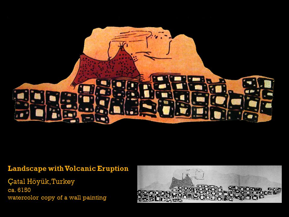 Landscape with Volcanic Eruption Çatal Höyük, Turkey ca. 6150 watercolor copy of a wall painting
