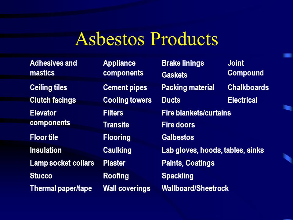 Asbestos Products Adhesives and mastics Appliance components Brake linings Gaskets Joint Compound Ceiling tilesCement pipes Packing materialChalkboard