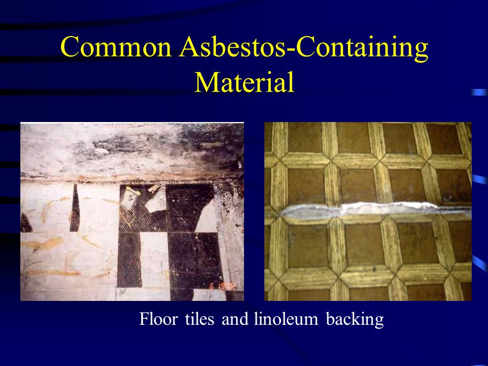Common Asbestos-Containing Material Floor tiles and linoleum backing