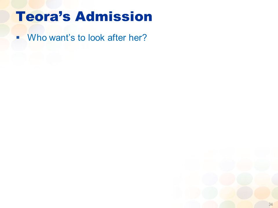 34 Teora's Admission  Who want's to look after her?