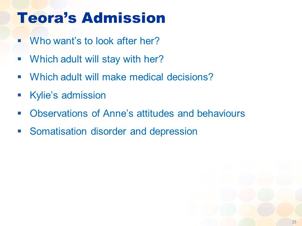 39 Teora's Admission  Who want's to look after her.