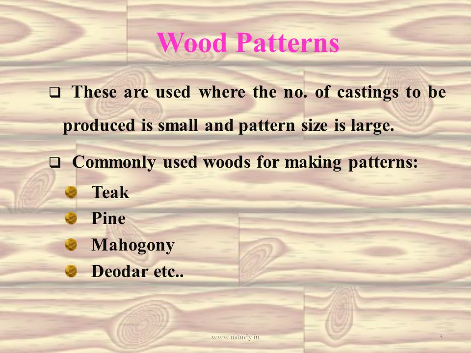 Wood Patterns  These are used where the no.
