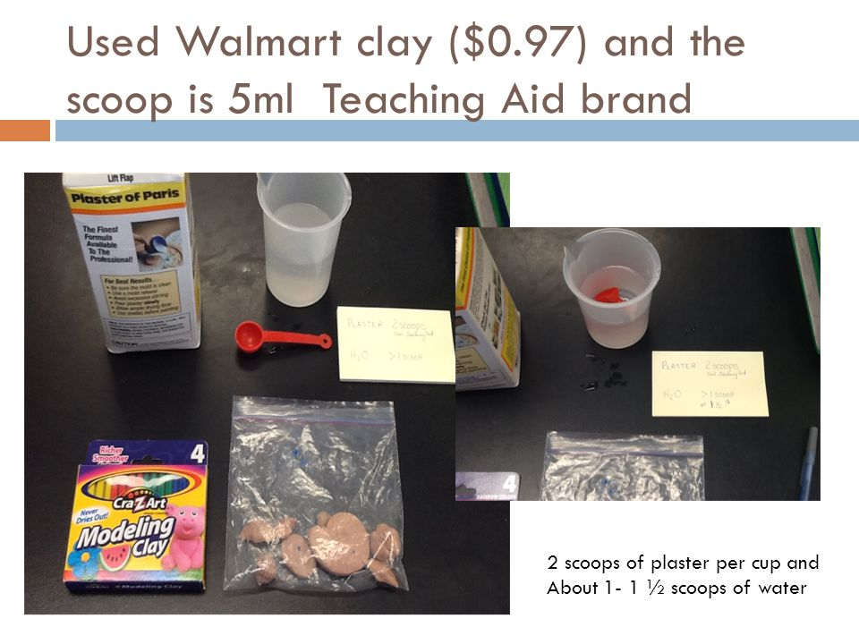 Used Walmart clay ($0.97) and the scoop is 5ml Teaching Aid brand 2 scoops of plaster per cup and About 1- 1 ½ scoops of water