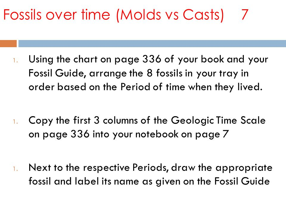 Fossils over time (Molds vs Casts) 7 1.