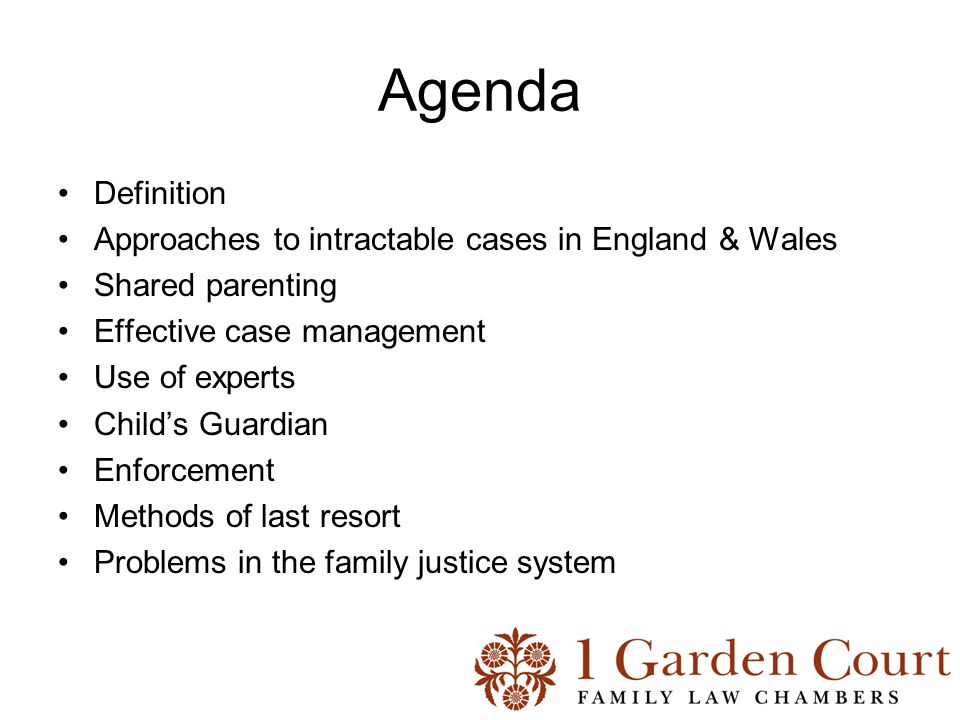 Agenda Definition Approaches to intractable cases in England & Wales Shared parenting Effective case management Use of experts Child's Guardian Enforcement Methods of last resort Problems in the family justice system