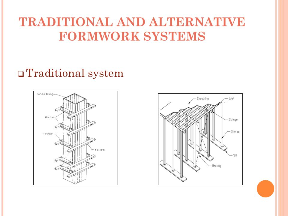 TRADITIONAL AND ALTERNATIVE FORMWORK SYSTEMS  Traditional system