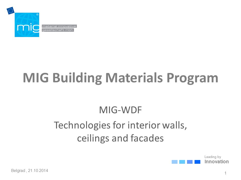 Leading by Innovation Belgrad, 21.10.2014 MIG Building Materials Program MIG-WDF Technologies for interior walls, ceilings and facades 1