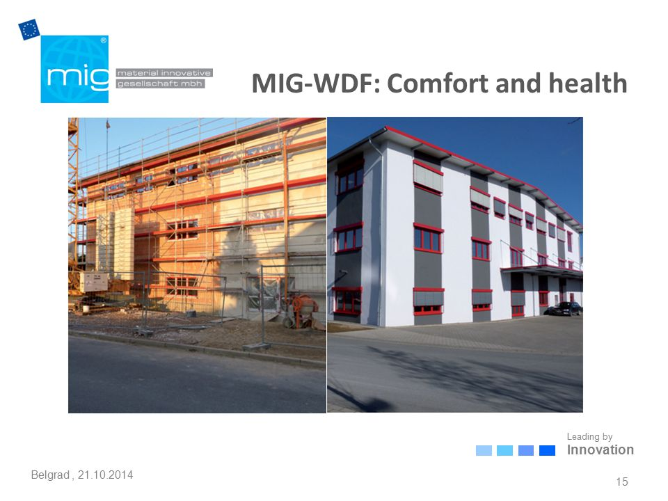 Leading by Innovation Belgrad, 21.10.2014 MIG-WDF: Comfort and health 15