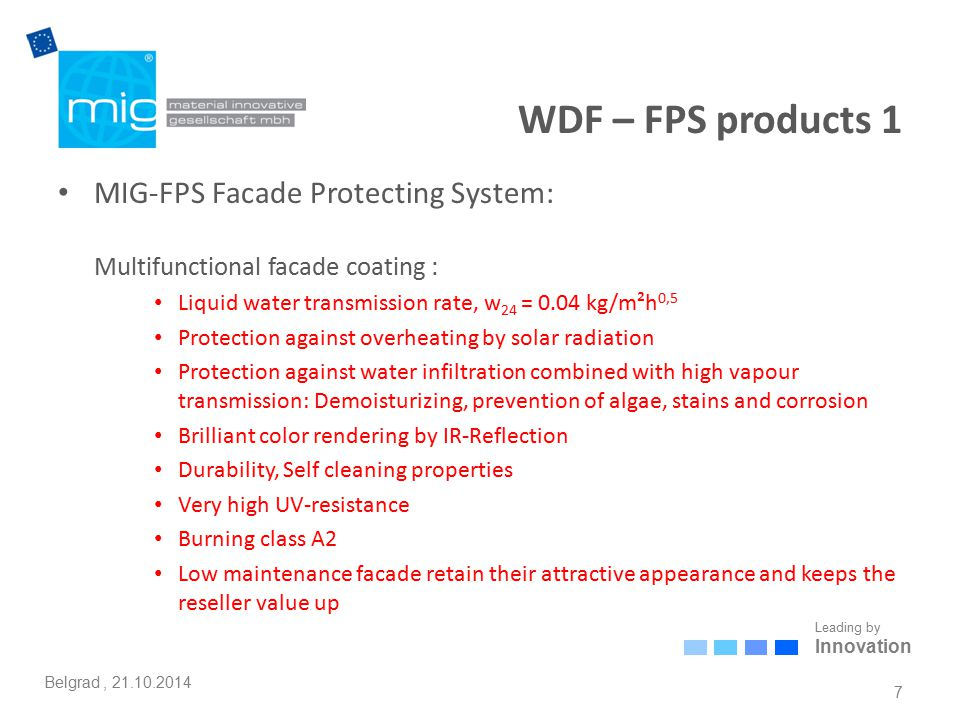 Leading by Innovation Belgrad, 21.10.2014 MIG-WDF: Comfort and health 18 MIG-FPS and MIG-CC for interior and exterior walls + MIG-ESP® M65 Supertherm plaster Lücking W12 d = 42.5 cm Lambda = 0.12 Actual - plaster interior 1.5 cm - brickwork - plaster exterior 2.0 cm U = 0.166 W/m²K Meeting the requirements of EnEV 2009 -- 0.166 < 0.35 Heating mode for non-residential buildings > 19 °C – opaque building components U-value improvement 35 percent