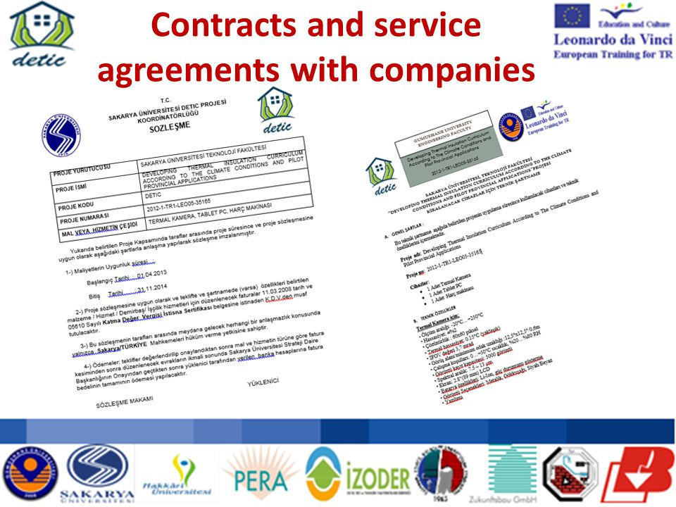 Contracts and service agreements with companies