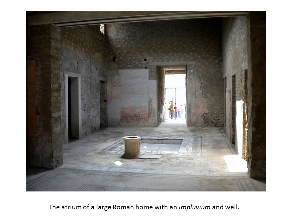 The atrium of a large Roman home with an impluvium and well.