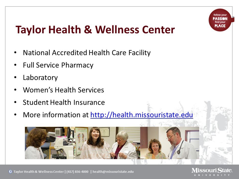 Taylor Health & Wellness Center National Accredited Health Care Facility Full Service Pharmacy Laboratory Women's Health Services Student Health Insur