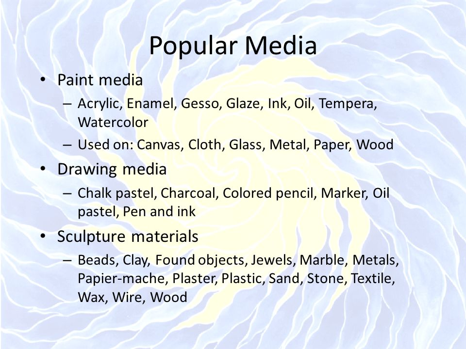 Popular Media Paint media – Acrylic, Enamel, Gesso, Glaze, Ink, Oil, Tempera, Watercolor – Used on: Canvas, Cloth, Glass, Metal, Paper, Wood Drawing m