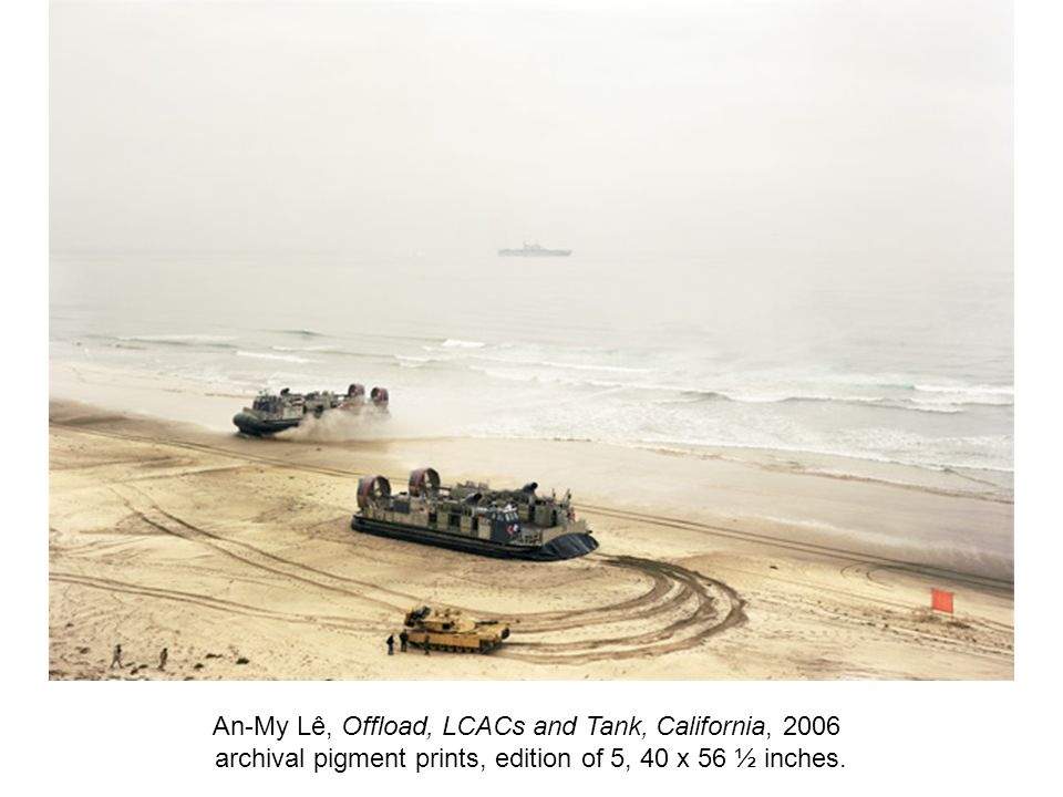 An-My Lê, Offload, LCACs and Tank, California, 2006 archival pigment prints, edition of 5, 40 x 56 ½ inches.