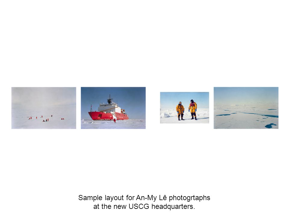 Sample layout for An-My Lê photogrtaphs at the new USCG headquarters.