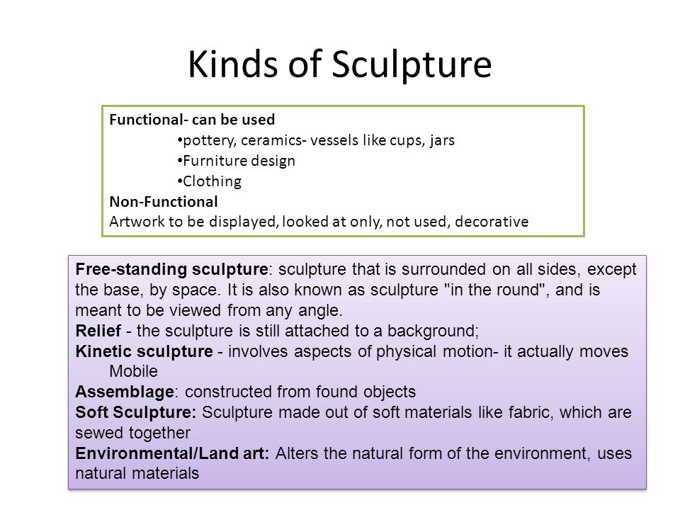 Kinds of Sculpture Free-standing sculpture: sculpture that is surrounded on all sides, except the base, by space.