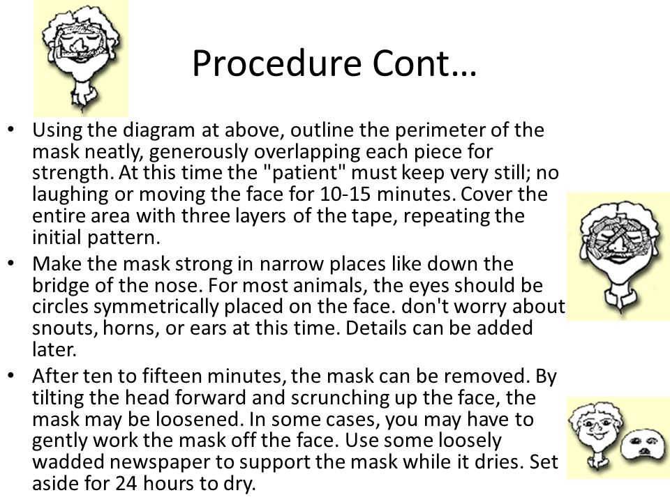 Procedure Cont… Using the diagram at above, outline the perimeter of the mask neatly, generously overlapping each piece for strength.