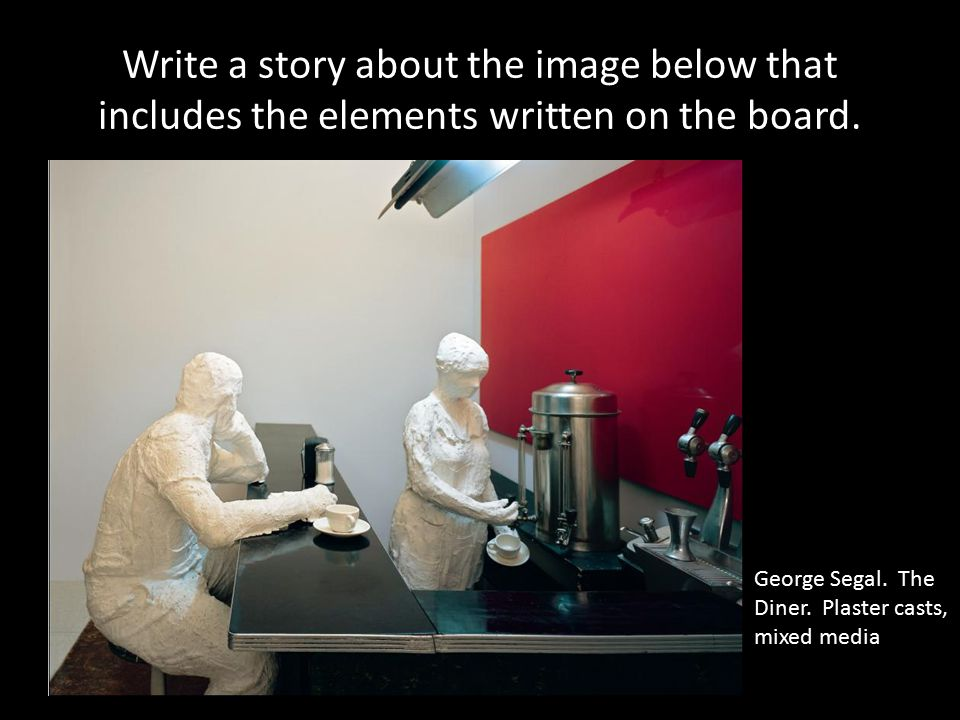 Write a story about the image below that includes the elements written on the board.