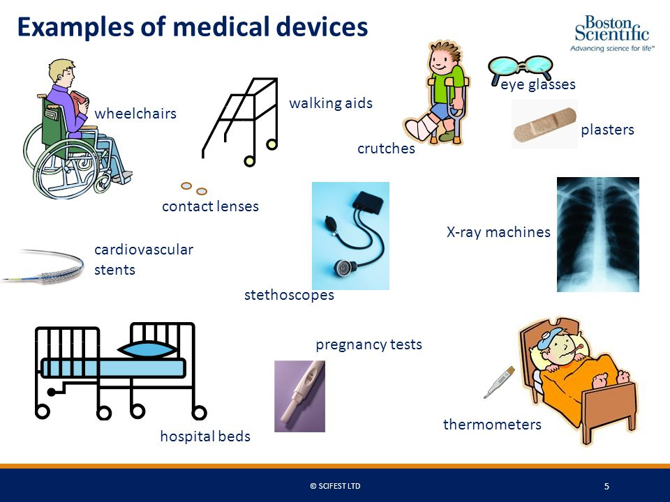 Examples of medical devices wheelchairs crutches walking aids eye glasses plasters hospital beds X-ray machines stethoscopes contact lenses cardiovascular stents pregnancy tests thermometers © SCIFEST LTD 5