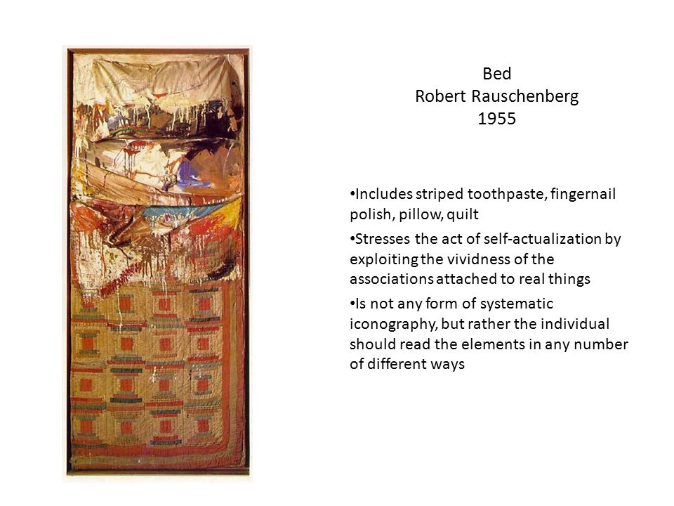 Canyon Robert Rauschenberg 1959 Rauschenberg delved greatly to bring out new items such as, sheet metal and enamel on wood.