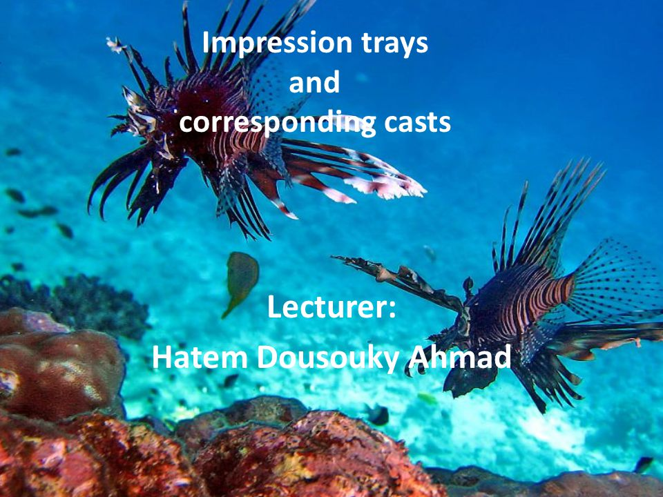 Impression trays and corresponding casts Lecturer: Hatem Dousouky Ahmad
