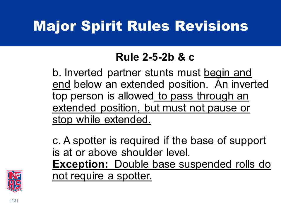 | 13 | Major Spirit Rules Revisions Rule 2-5-2b & c b.