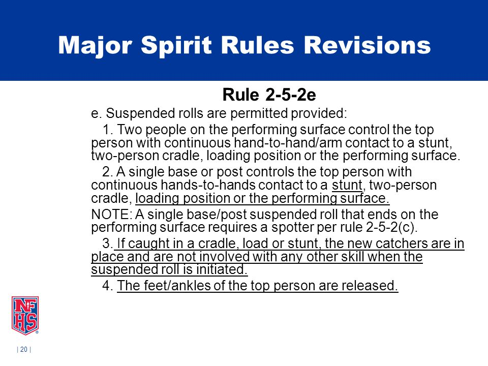 | 20 | Major Spirit Rules Revisions Rule 2-5-2e e. Suspended rolls are permitted provided: 1. Two people on the performing surface control the top per