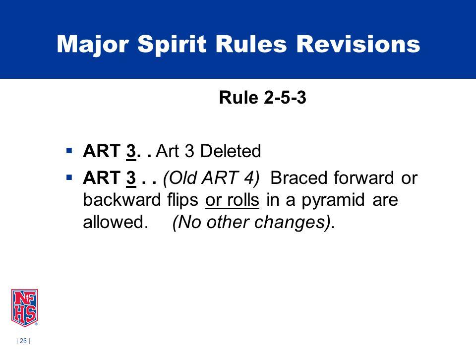 | 26 | Major Spirit Rules Revisions Rule 2-5-3  ART 3..