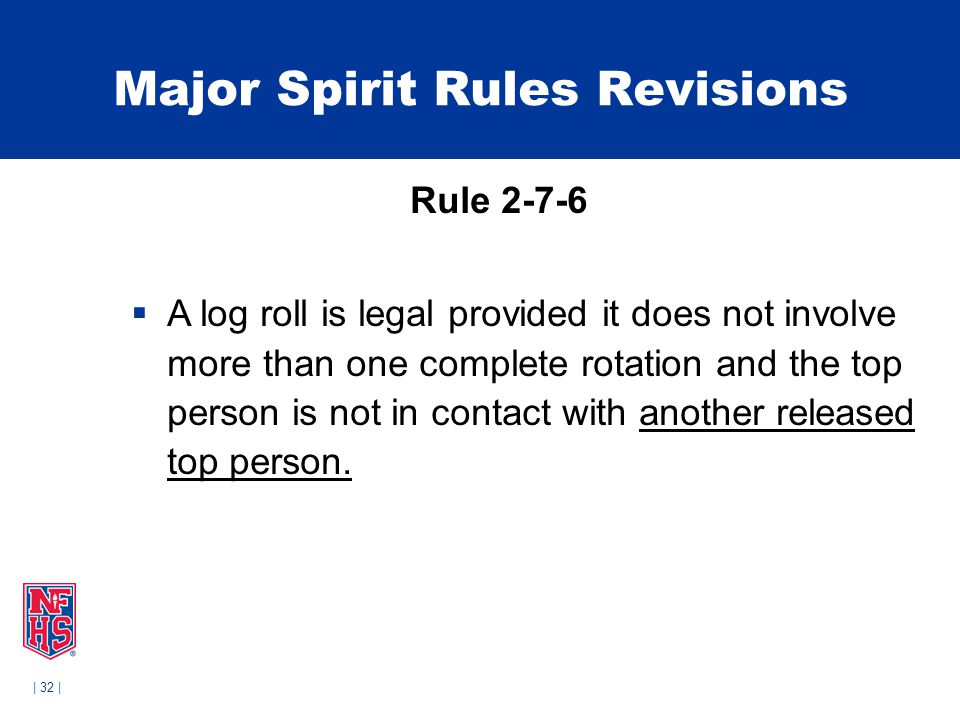 | 32 | Major Spirit Rules Revisions Rule 2-7-6  A log roll is legal provided it does not involve more than one complete rotation and the top person is not in contact with another released top person.
