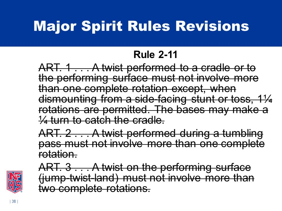 | 38 | Major Spirit Rules Revisions Rule 2-11 ART. 1... A twist performed to a cradle or to the performing surface must not involve more than one comp