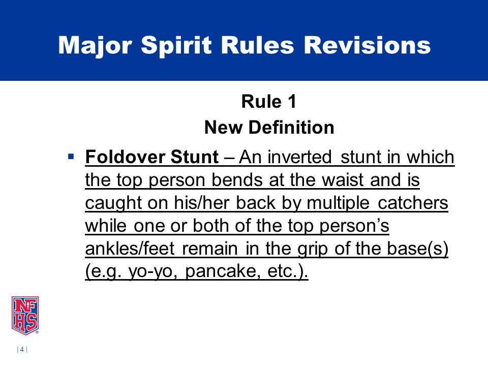 | 35 | Major Spirit Rules Revisions Rule 2-9-9  In all dismounts to catchers who are not the original bases, the following conditions must be met:  a.