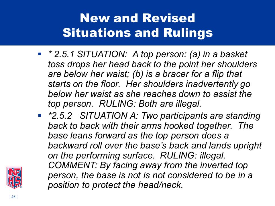 | 46 | New and Revised Situations and Rulings  * 2.5.1 SITUATION: A top person: (a) in a basket toss drops her head back to the point her shoulders are below her waist; (b) is a bracer for a flip that starts on the floor.