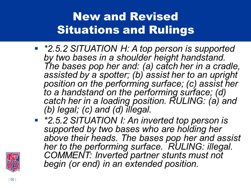 | 50 | New and Revised Situations and Rulings  *2.5.2 SITUATION H: A top person is supported by two bases in a shoulder height handstand.
