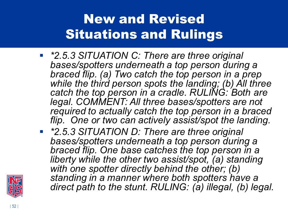 | 52 | New and Revised Situations and Rulings  *2.5.3 SITUATION C: There are three original bases/spotters underneath a top person during a braced flip.
