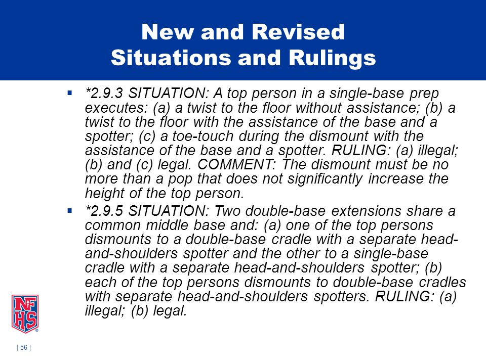| 56 | New and Revised Situations and Rulings  *2.9.3 SITUATION: A top person in a single-base prep executes: (a) a twist to the floor without assist