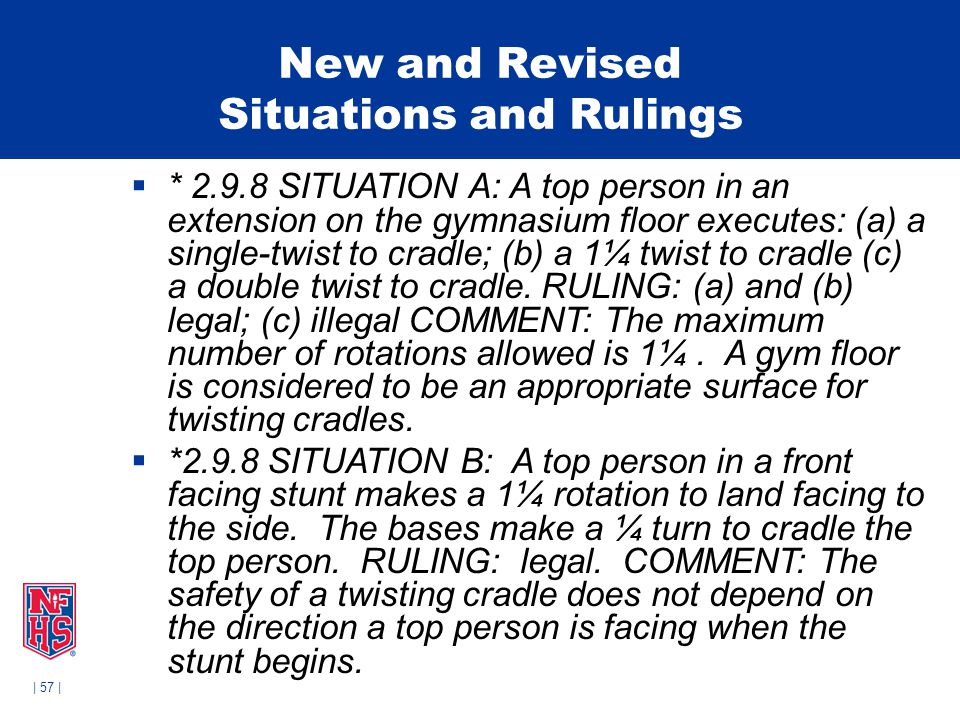 | 57 | New and Revised Situations and Rulings  * 2.9.8 SITUATION A: A top person in an extension on the gymnasium floor executes: (a) a single-twist to cradle; (b) a 1¼ twist to cradle (c) a double twist to cradle.