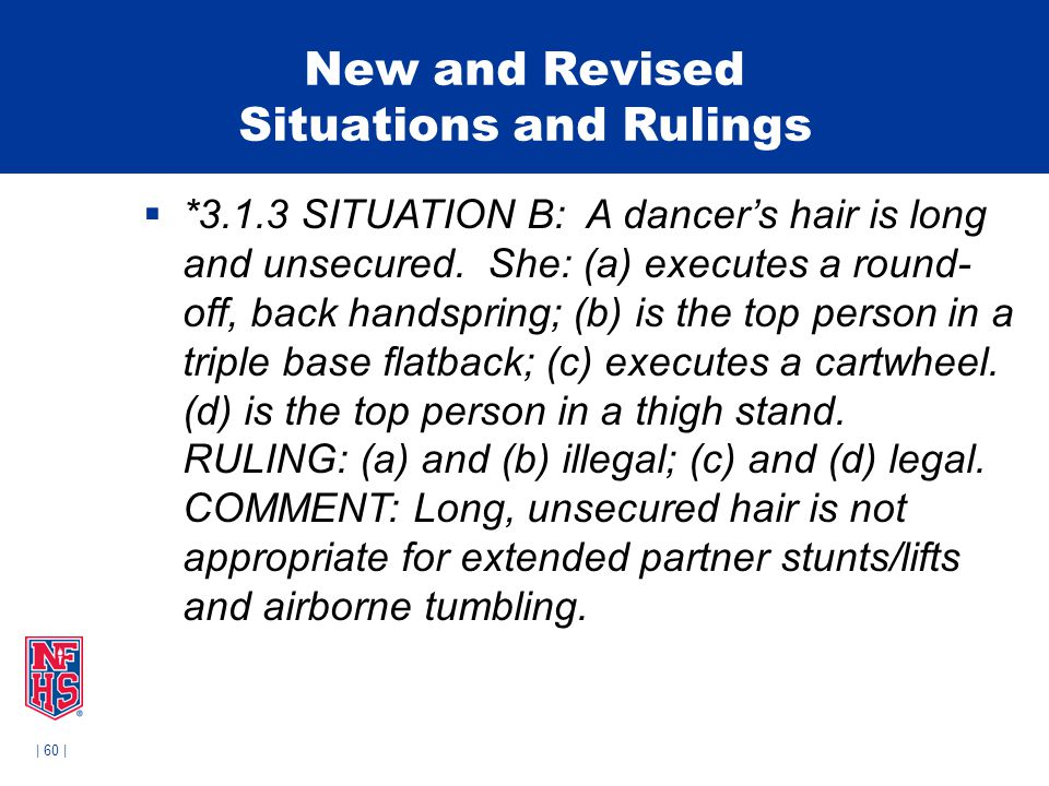 | 60 | New and Revised Situations and Rulings  *3.1.3 SITUATION B: A dancer's hair is long and unsecured.