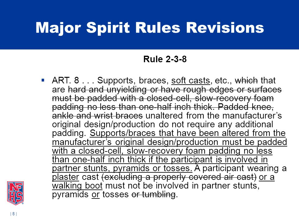 | 8 | Major Spirit Rules Revisions Rule 2-3-8  ART. 8... Supports, braces, soft casts, etc., which that are hard and unyielding or have rough edges o