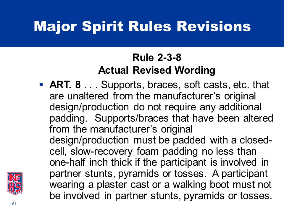 | 9 | Major Spirit Rules Revisions Rule 2-3-8 Actual Revised Wording  ART. 8... Supports, braces, soft casts, etc. that are unaltered from the manufa