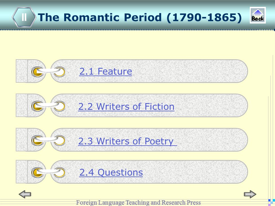 Foreign Language Teaching and Research Press The Romantic Period (1790-1865) II 2.2 Writers of Fiction 2.3 Writers of Poetry 2.1 Feature 2.4 Questions