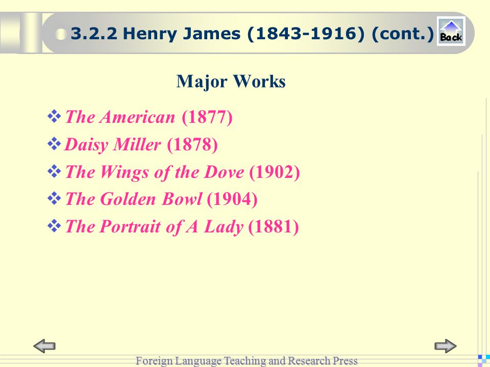 Foreign Language Teaching and Research Press Major Works  The American (1877)  Daisy Miller (1878)  The Wings of the Dove (1902)  The Golden Bowl (1904)  The Portrait of A Lady (1881) 3.2.2 Henry James (1843-1916) (cont.)