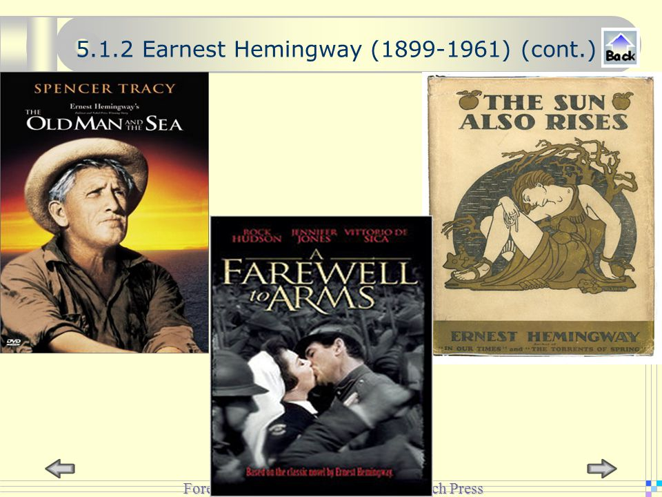 Foreign Language Teaching and Research Press 5.1.2 Earnest Hemingway (1899-1961) (cont.)