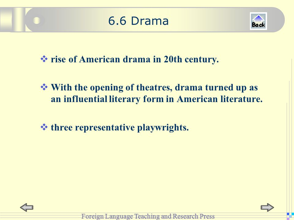 Foreign Language Teaching and Research Press 6.6 Drama  rise of American drama in 20th century.
