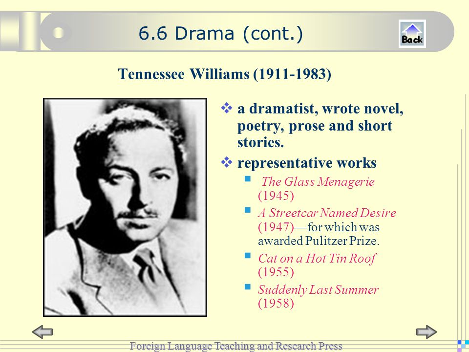 Foreign Language Teaching and Research Press Tennessee Williams (1911-1983)  a dramatist, wrote novel, poetry, prose and short stories.