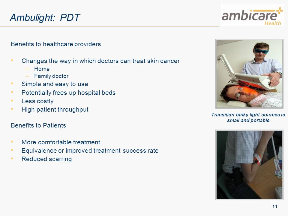 11 Ambulight: PDT Benefits to healthcare providers Changes the way in which doctors can treat skin cancer – Home – Family doctor Simple and easy to us