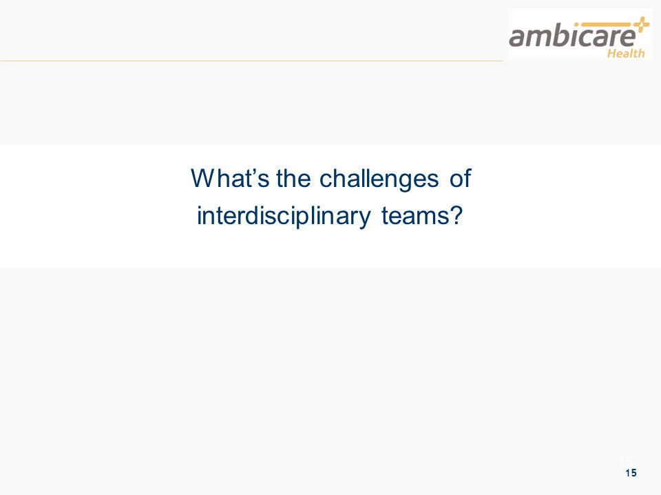 15 What's the challenges of interdisciplinary teams?